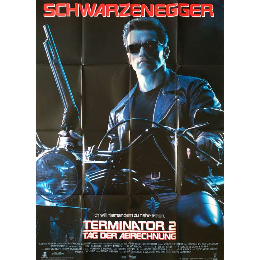 TERMINATOR 2 Affiche de film - 118x83 cm. - 1992 - Arnold Schwarzenegger, James Cameron