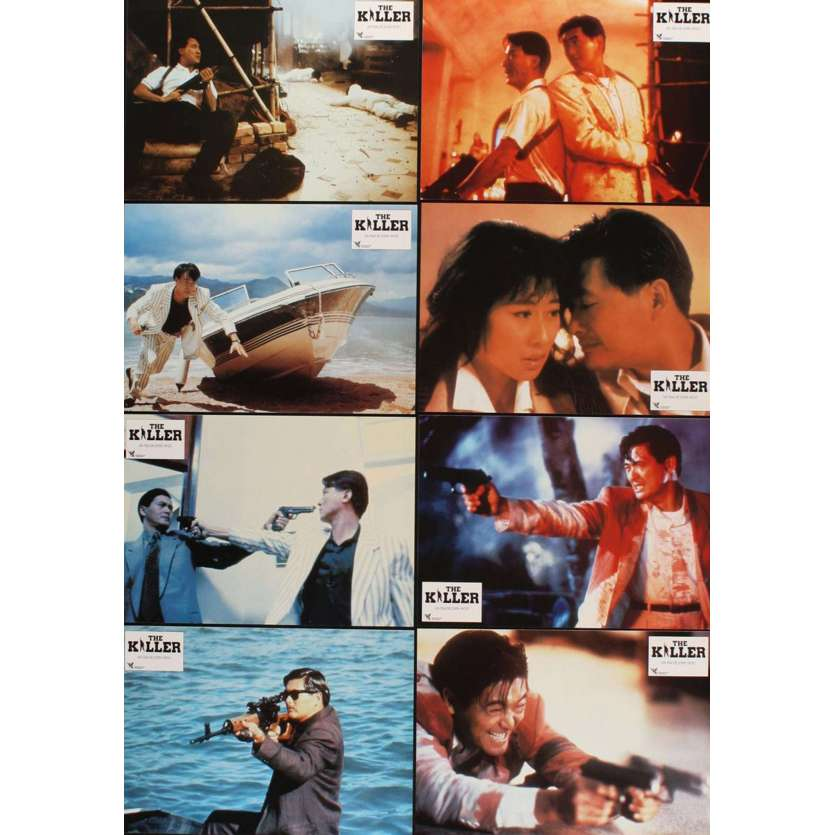 KILLER 8 French LCs '89 John Woo directed, action images of Chow Yun-Fat!