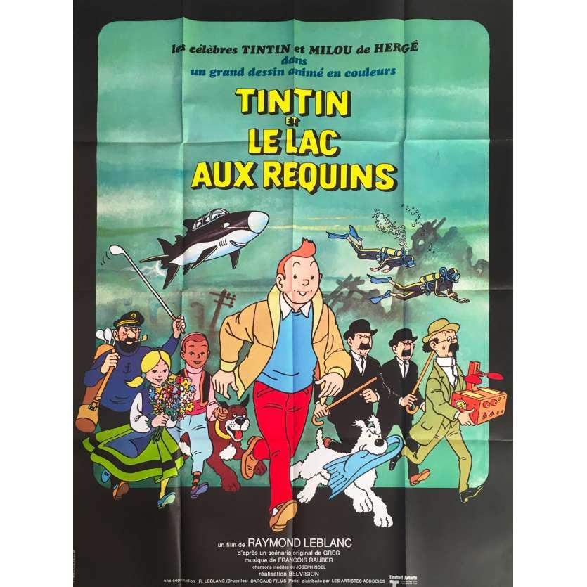 TINTIN ET LE LAC AUX REQUINS Affiche de film - 120x160 cm. - 1972 - Jacques Balutin, Raymond Leblanc