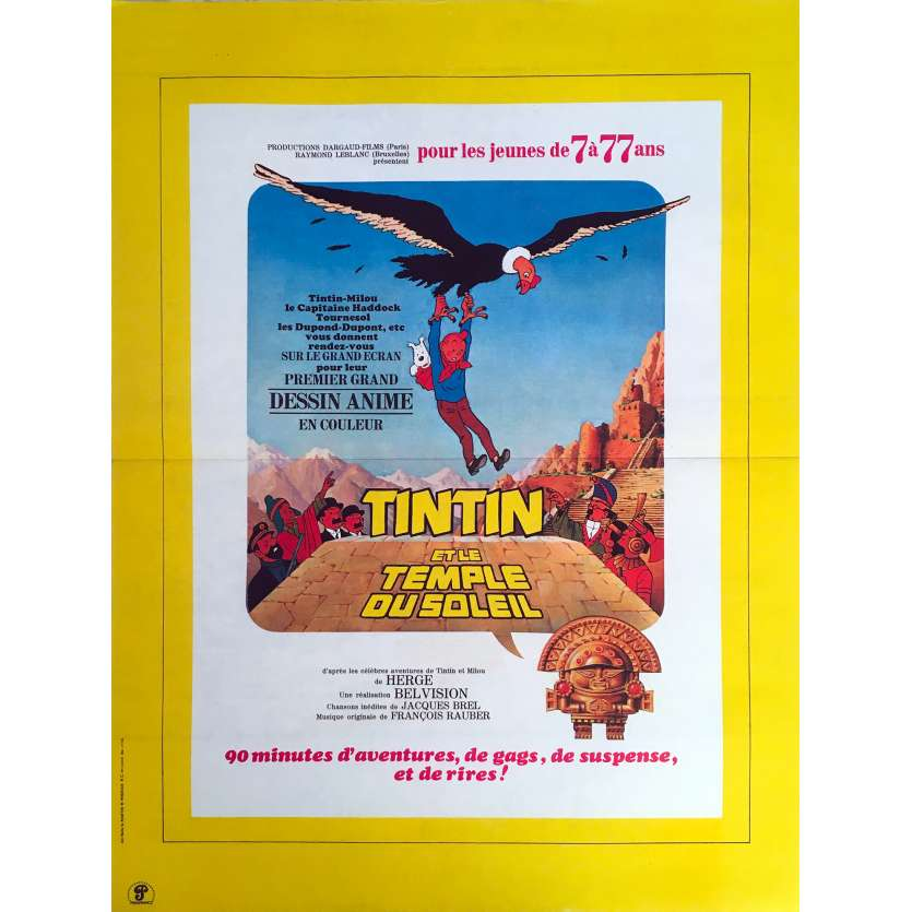 TINTIN AND THE TEMPLE OF THE SUN Original Movie Poster - 15x21 in. - 1969 - Hergé, Claude bertrand