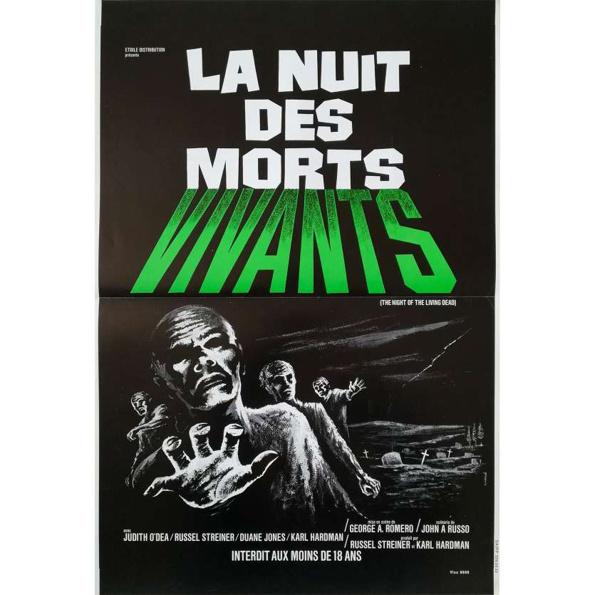 LA NUIT DES MORTS VIVANTS Affiche de film - 40x60 cm. - R1980 - Duane Jones, George A. Romero