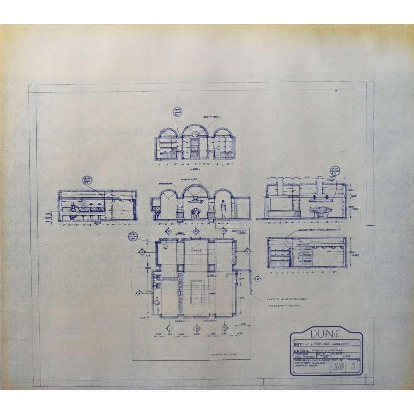 DUNE Original Blueprint - Arakeen No:16/1 - 21x24-26 in. - 1982, David Lynch