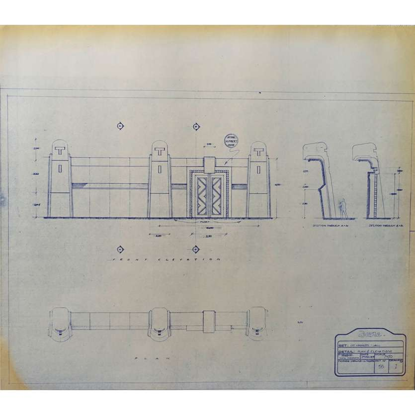 DUNE Original Blueprint - Arakeen No:Ext/56/1 - 21x24-26 in. - 1982, David Lynch