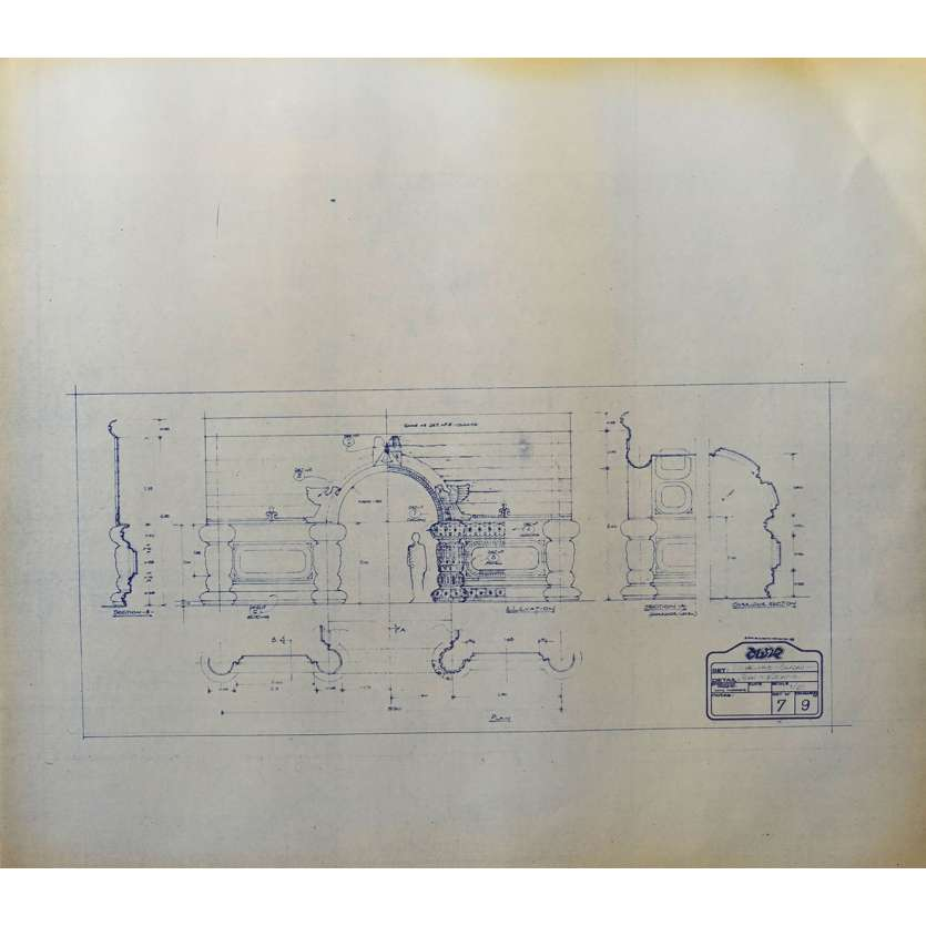 DUNE Original Blueprint - Caladan No:Ext/7/9 - 21x24-26 in. - 1982, David Lynch