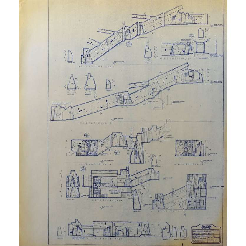 DUNE Original Blueprint - Sietch Tabr No:20-21/2 - 21x24-26 in. - 1982, David Lynch