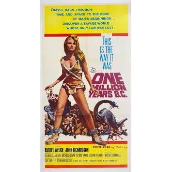 UN MILLION D'ANNEES AVANT J.C. Affiche de film US entoilée - 104x206 cm. - 1966 - Raquel Welch, Hammer, Harryhausen