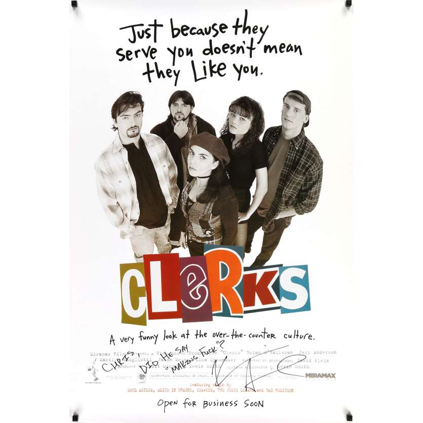 CLERKS Original Signed Poster - 27x40 in. - 1994 - Kevin Smith, Jason Mewes