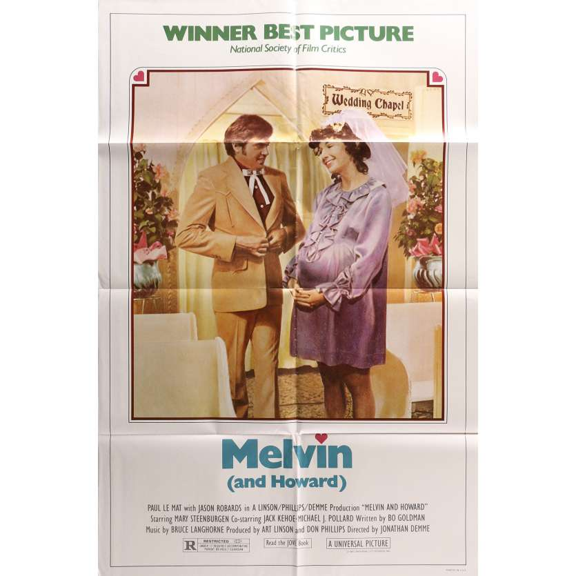 MELVIN AND HOWARD Original Movie Poster - 27x40 in. - 1980 - Jonathan Demme, Jason Robards