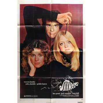 SHAMPOO Original Movie Poster - 27x40 in. - 1975 - Hal Ashby, Warren Beatty, Julie Christie, Goldie Hawn