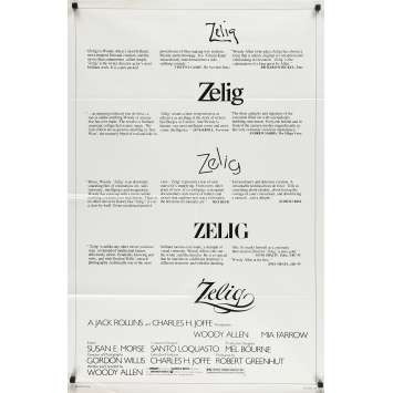 ZELIG Original Movie Poster - 27x40 in. - 1983 - Woody Allen, Mia Farrow