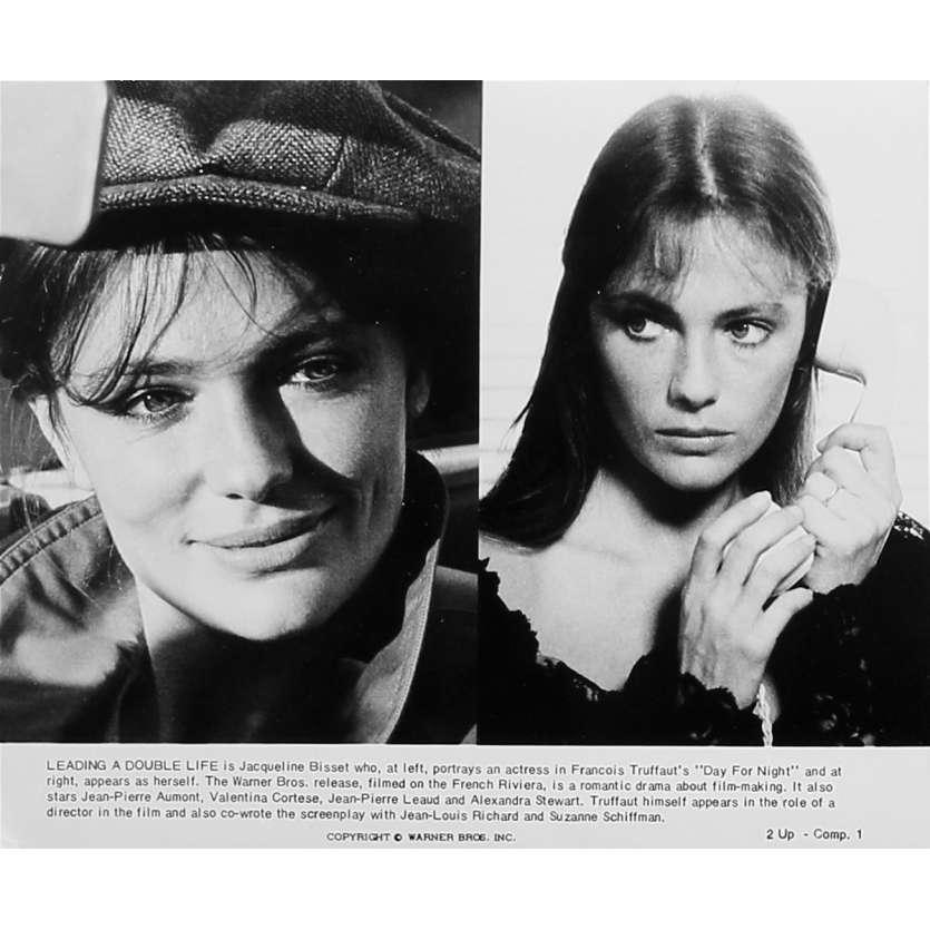 LA NUIT AMERICAINE Photo de presse 2UP-Comp.1 - 20x25 cm. - 1973 - Jacqueline Bisset, François Truffaut