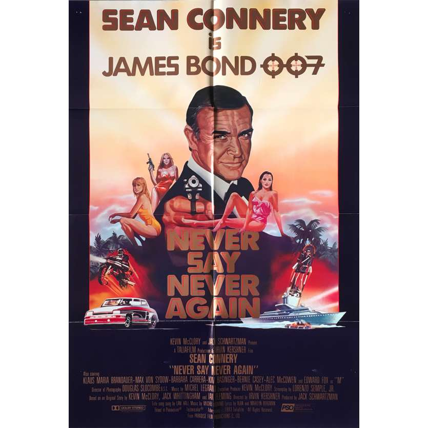 NEVER SAY NEVER AGAIN Original Movie Poster Intl - 27x41 in. - 1983 - James Bond, Sean Connery