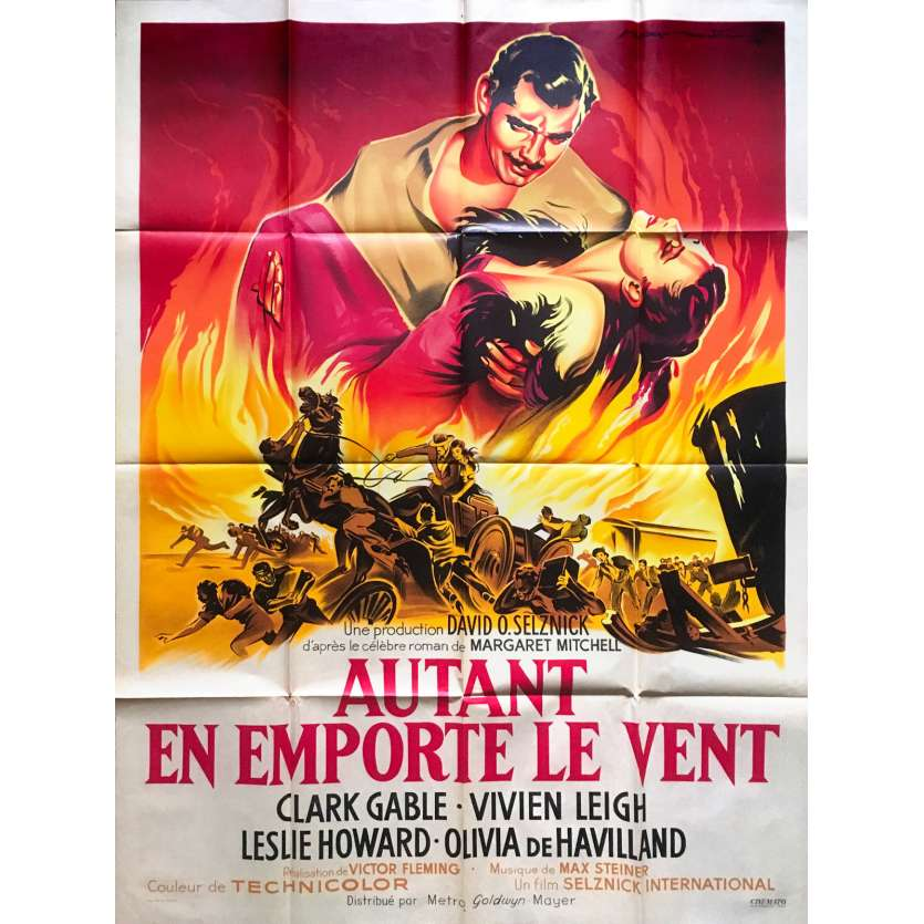 GONE WITH THE WIND Original Movie Poster - 47x63 in. - R1950 - Victor Flemming, Clark Gable