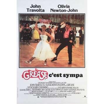 GREASE Original Movie Poster - 15x21 in. - R1990 - Randal Kleiser, John Travolta