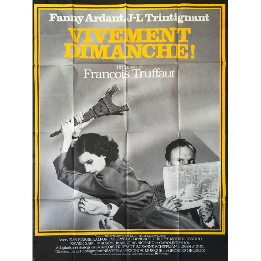 VIVEMENT DIMANCHE Affiche de film 120x160 - 1983, François Truffaut , Trintignant