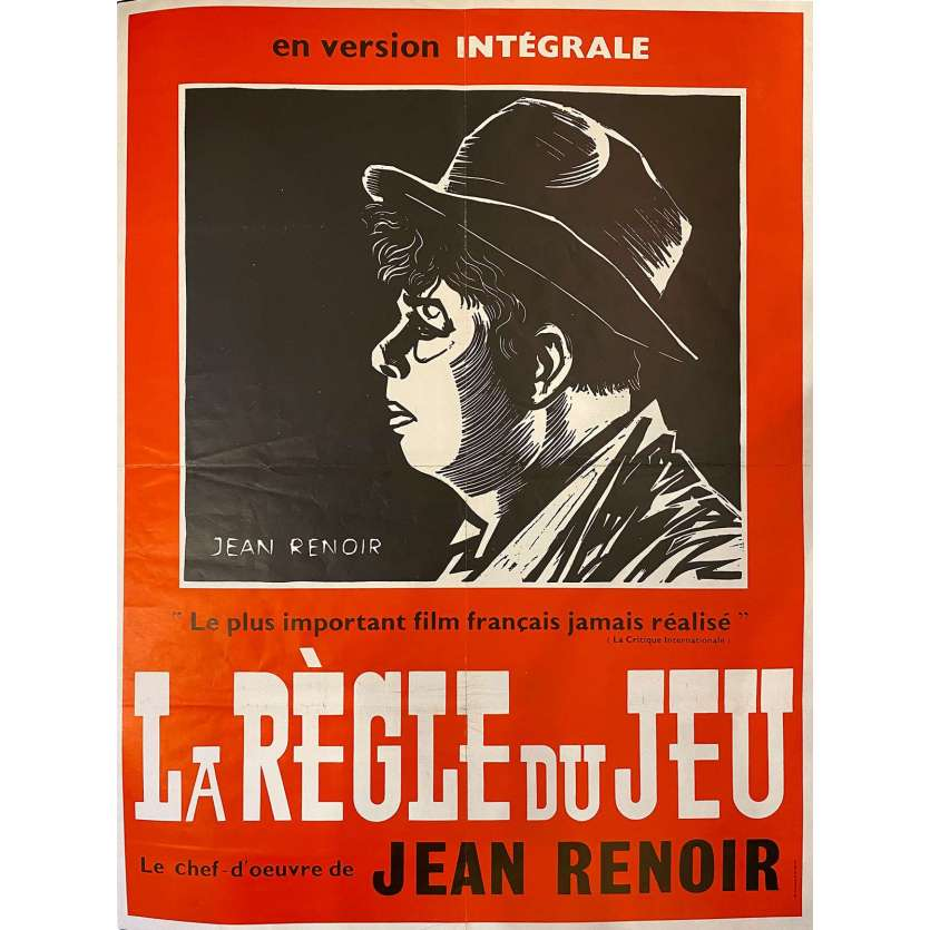 THE RULES OF THE GAME French Movie Poster 32x47 - R1960 - Jean Renoir, Marcel Dalio