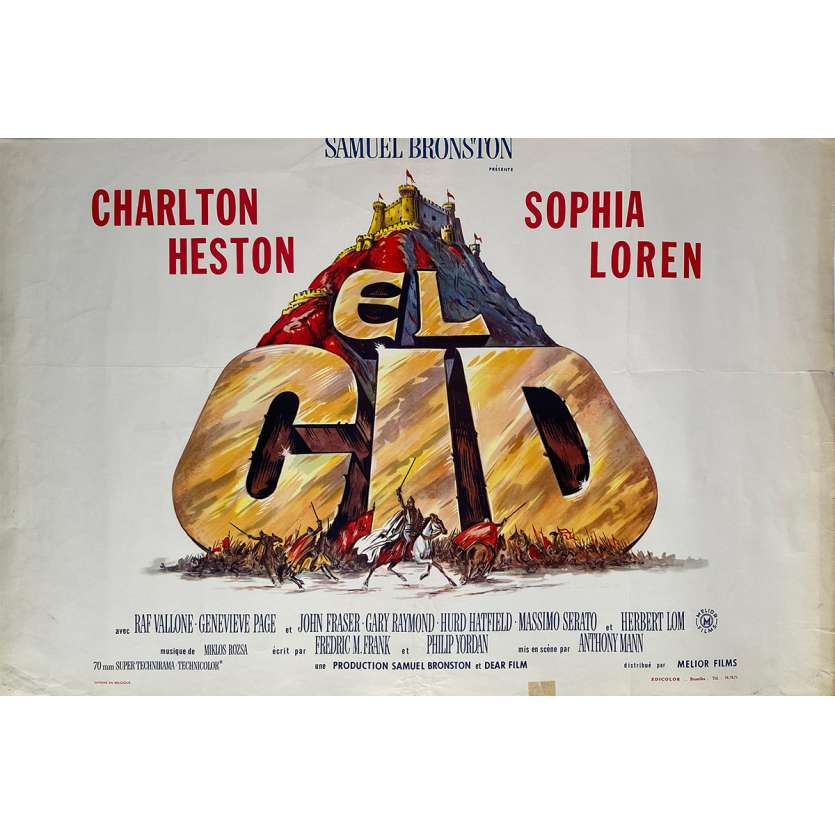 LE CID Affiche de film - 35x55 cm. - 1961 - Charlton Heston, Sophia Loren, Anthony Mann