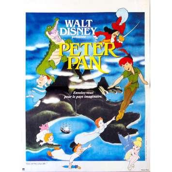 PETER PAN Affiche de film 40x60 Bleue R1970's Walt Disney Classic