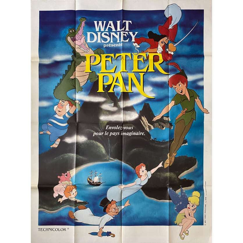 PETER PAN French Movie Poster 47x63 - R1974 - Walt Disney, Bobby Driscoll