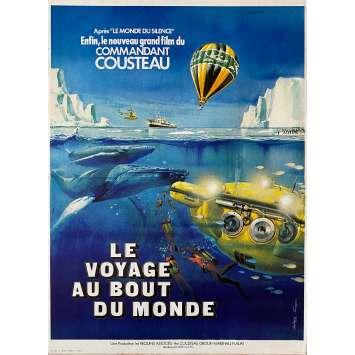 LE VOYAGE AU BOUT DU MONDE Affiche de film - 40x60 cm. - 1976 - Jacques-Yves Cousteau, Philippe Cousteau