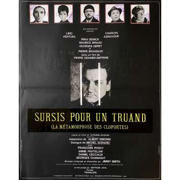CLOPORTES Original Movie Poster - 15x21 in. - 1965 - Pierre Granier-Deferre, Lino Ventura, Charles Aznavour