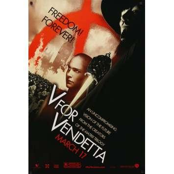 V FOR VENDETTA teaser 1sh '05 Wachowski Bros, bald Natalie Portman, Hugo Weaving