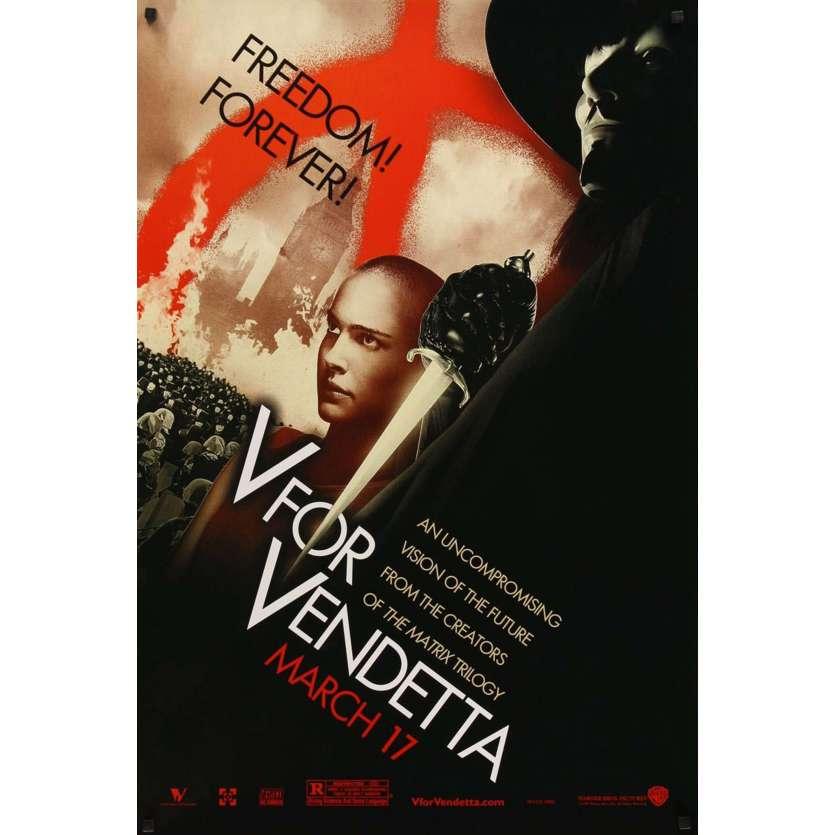 V POUR VENDETTA Type C Affiche originale américaine, Portman, Original Movie Poster