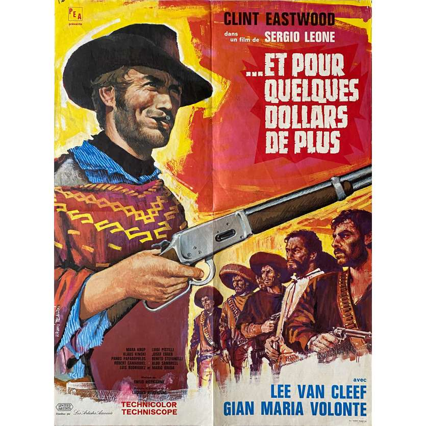 FOR A FEW DOLLARS MORE French Movie Poster 23x31 '65, Clint Eastwood western spaghetti