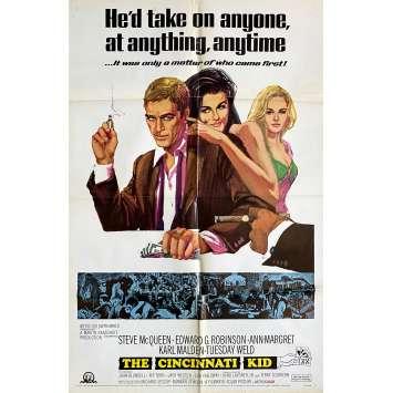 CINCINNATI KID Original Movie Poster - 27x40 in. - 1965 - Norman Jewison, Steve McQueen