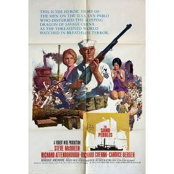 THE SAND PEBBLES Original Movie Poster - 27x40 in. - 1966 - Robert Wise, Steve McQueen