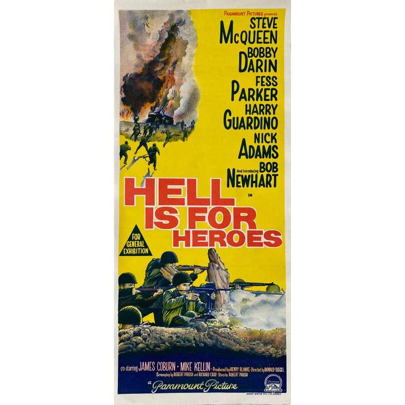 L'ENFER EST POUR LES HEROS Affiche de film - 35x91 cm. - 1962 - Steve McQueen, Don Siegel