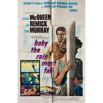 BABY THE RAIN MUST FALL Original Movie Poster - 27x41 in. - 1965 - Robert Mulligan, Steve McQueen