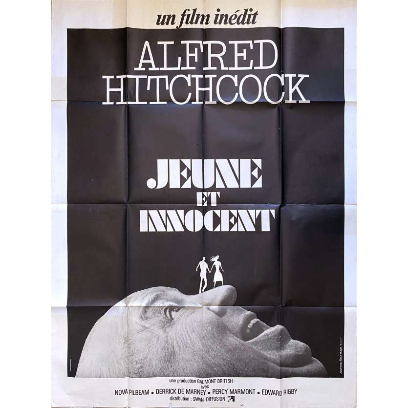 YOUNG AND INNOCENT Original Movie Poster - 47x63 in. - R1970 - Alfred Hitchcock, Nova Pilbeam