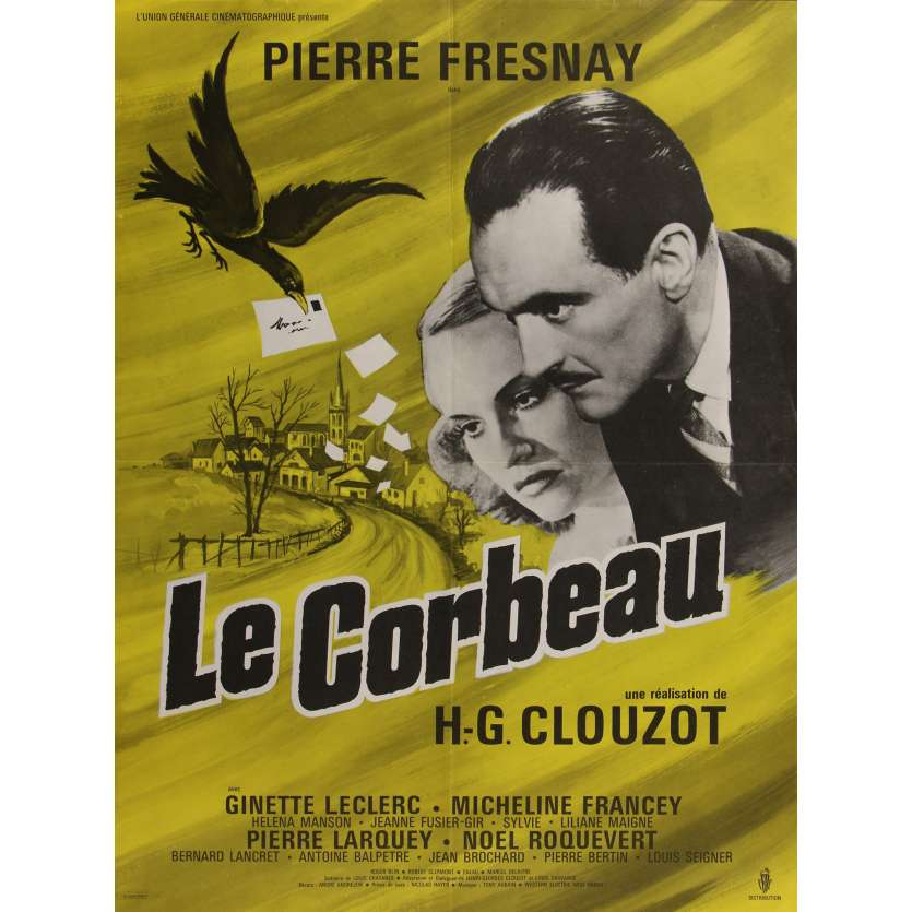 LE CORBEAU Original Movie Poster - 23x32 in. - R1960 - Henri-Georges Clouzot, Pierre Fresnay