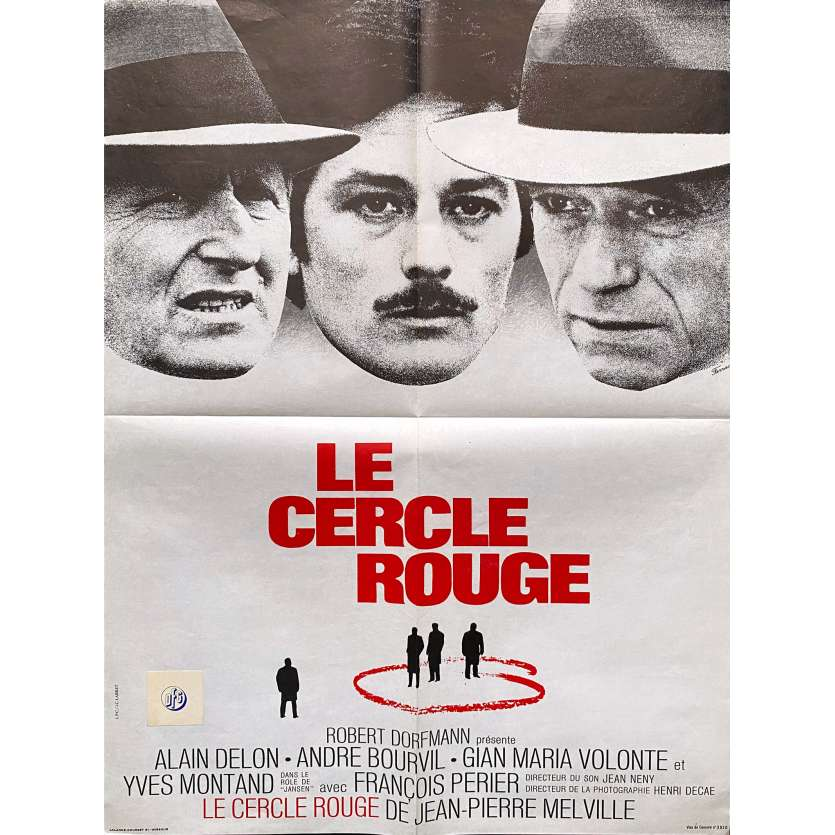 THE RED CIRCLE Original Movie Poster - 23x32 in. - 1970 - Jean-Pierre Melville, Alain Delon, Bourvil