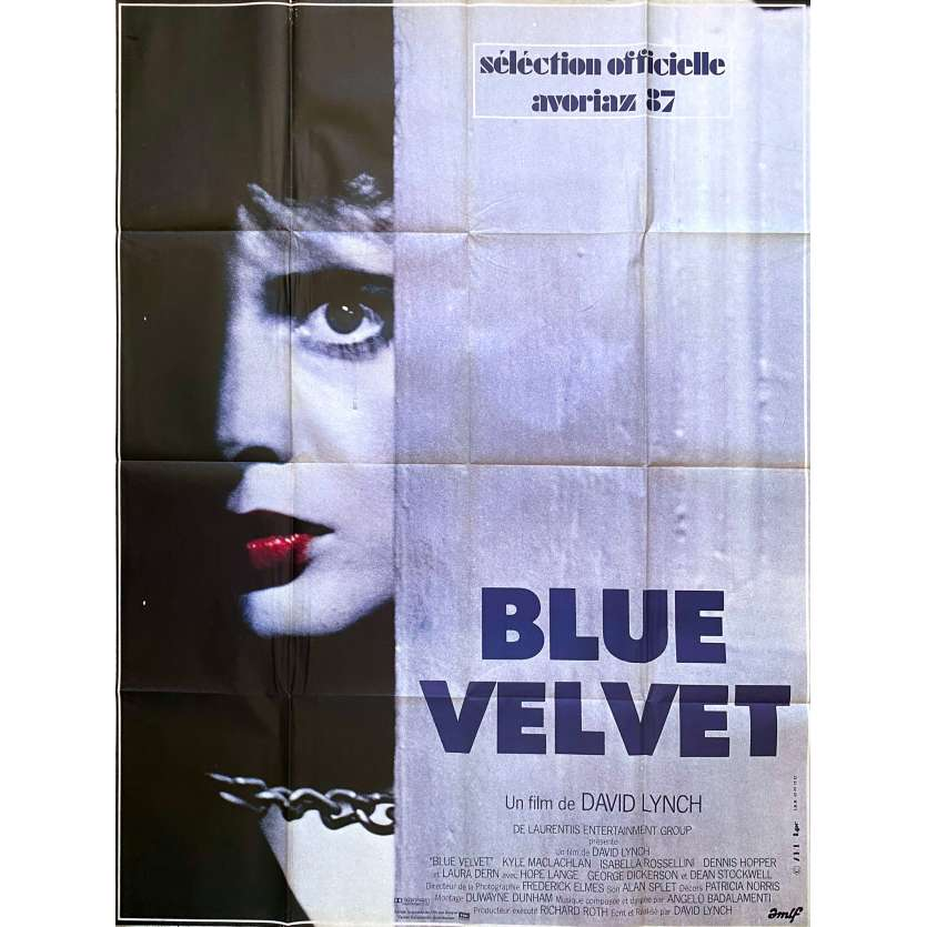 BLUE VELVET Huge Movie Poster - 47x63 in. - 1986 - David Lynch, NM, Rare !