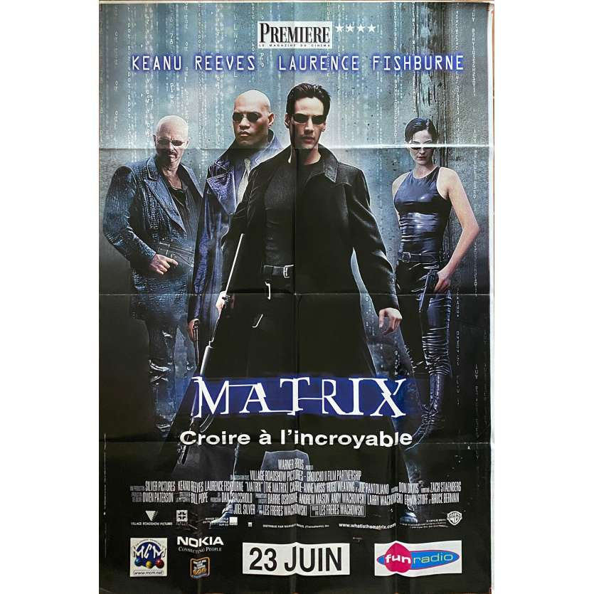 MATRIX Original Movie Poster - 47x70 in. - 1999 - Andy et Lana Wachowski, Keanu Reeves