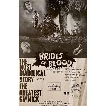 BRIDES OF BLOOD Affiche de film - 28x43 cm. - 1968 - John Ashley, Gerardo de Leon