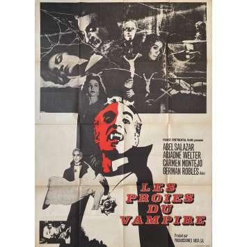 LES PROIES DU VAMPIRE Affiche de film - 120x160 cm. - 1957 - Abel Salazar, Fernando Méndez