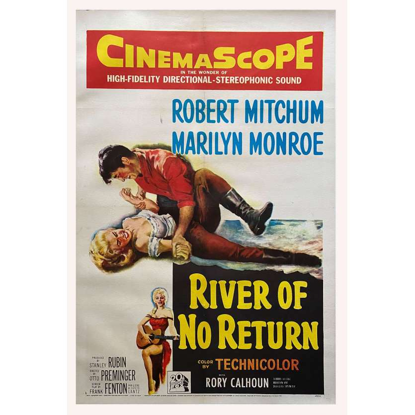 RIVER OF NO RETURN Original Linen Movie Poster - 1954 1st Release - Marilyn Monroe, Robert Mitchum