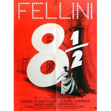 EIGHT AND HALF Movie Poster 23x32 in. French - 1963 - Federico Fellini, Marcello Mastroianni