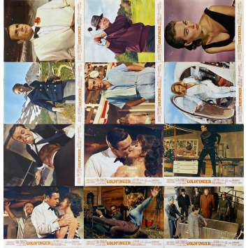 GOLDFINGER Original Lobby Cards x12 - 9x12 in. - 1964 - James Bond 007, Sean Connery
