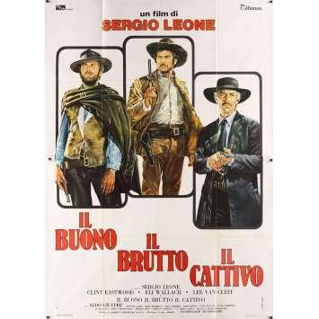 GOOD, THE BAD & THE UGLY Italian 2p R69 Clint Eastwood, Lee Van Cleef, cool Casaro art!