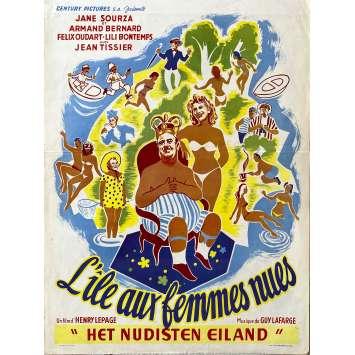 L'ILE AUX FEMMES NUES Affiche de film- 35x55 cm. - 1953 - Félix Oudart, Henri Lepage