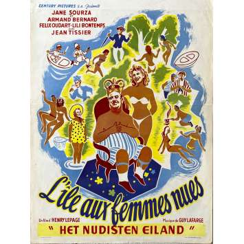 NAKED IN THE WIND Original Movie Poster- 14x21 in. - 1953 - Henri Lepage, Félix Oudart