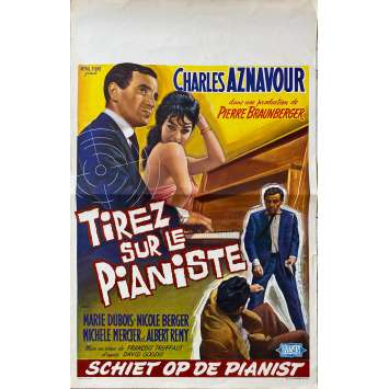 SHOOT THE PIANO PLAYER Original Movie Poster- 14x21 in. - 1960 - François Truffaut, Charles Aznavour