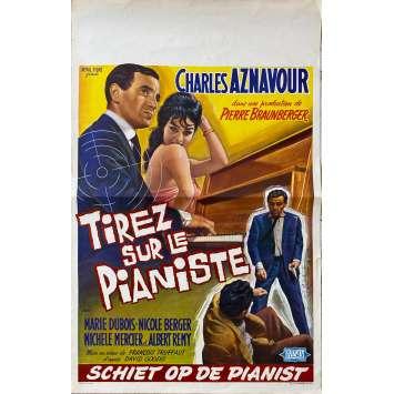 TIREZ SUR LE PIANISTE Affiche de film- 35x55 cm. - 1960 - Charles Aznavour, François Truffaut