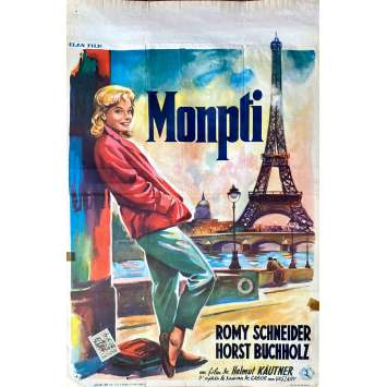 MONPTI Original Movie Poster- 14x21 in. - 1957 - Romy Schneider, Paris, Eiffel Tower