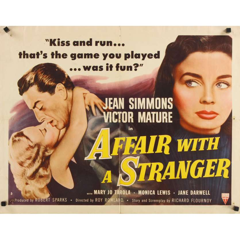 AFFAIR WITH A STRANGER revised style B 1/2sh - 1953 - Jean Simmons, Victor Mature