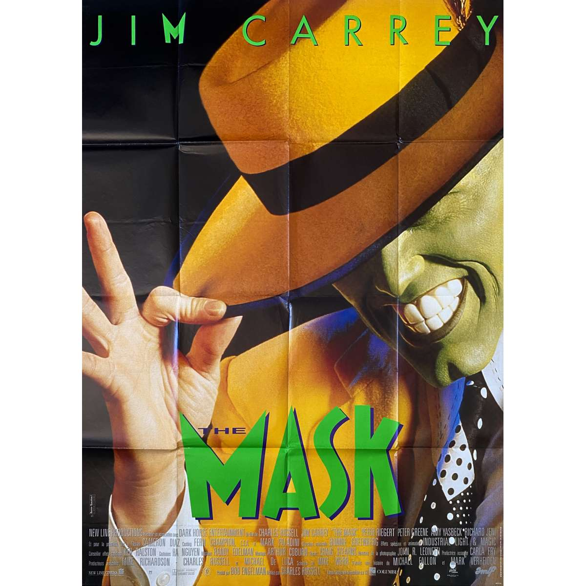 THE MASK Original Movie Poster  - 47x63 in. - 1994 - Chuck Russel, Jim Carrey